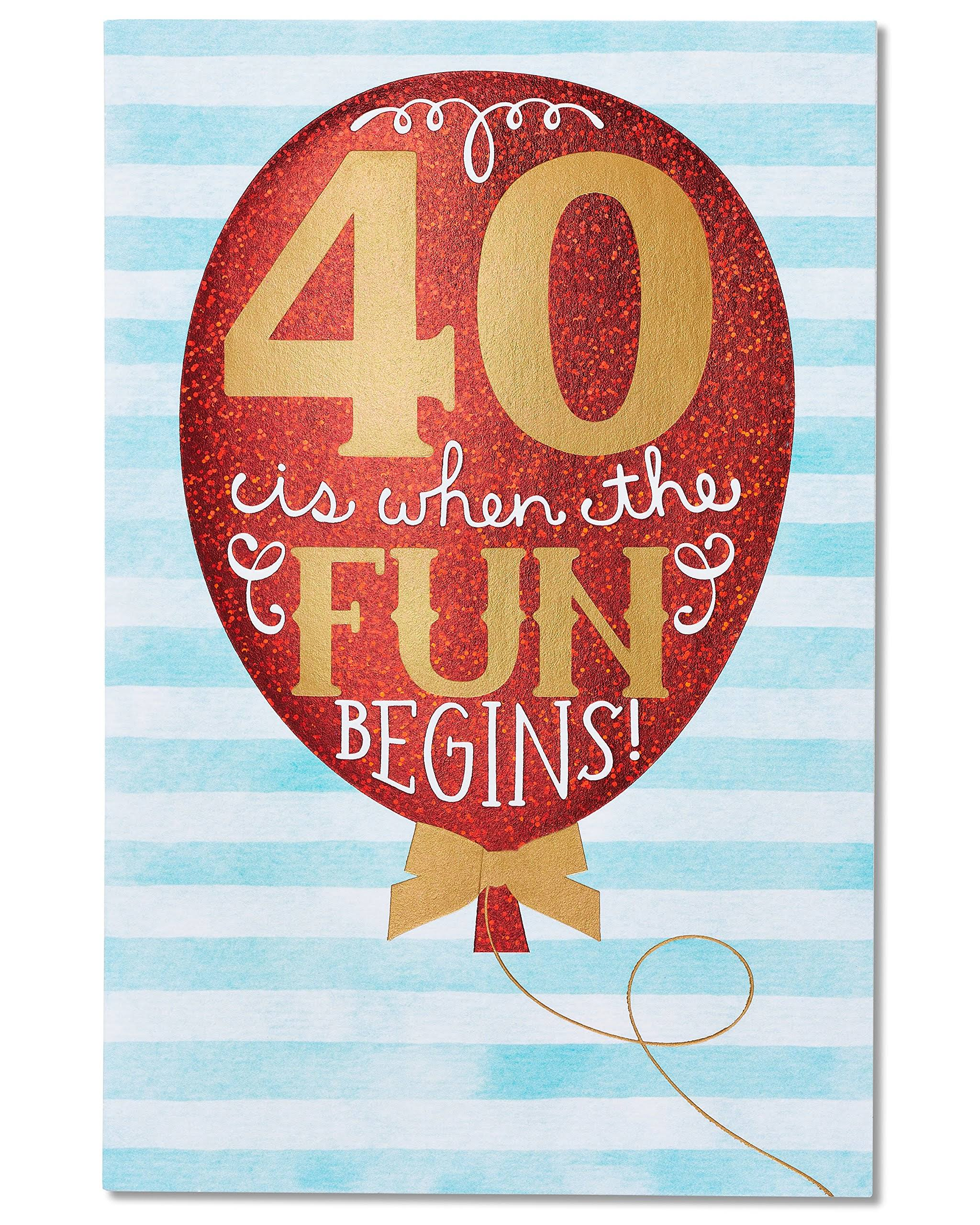 American Greetings 40th Birthday Card with Foil