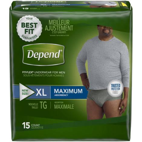 Depend Fit-Flex for Men Incontinence Underwear - Gray, X-Large, 15ct