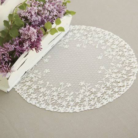 Heritage Lace Blossom Doily White / 20 inch Round