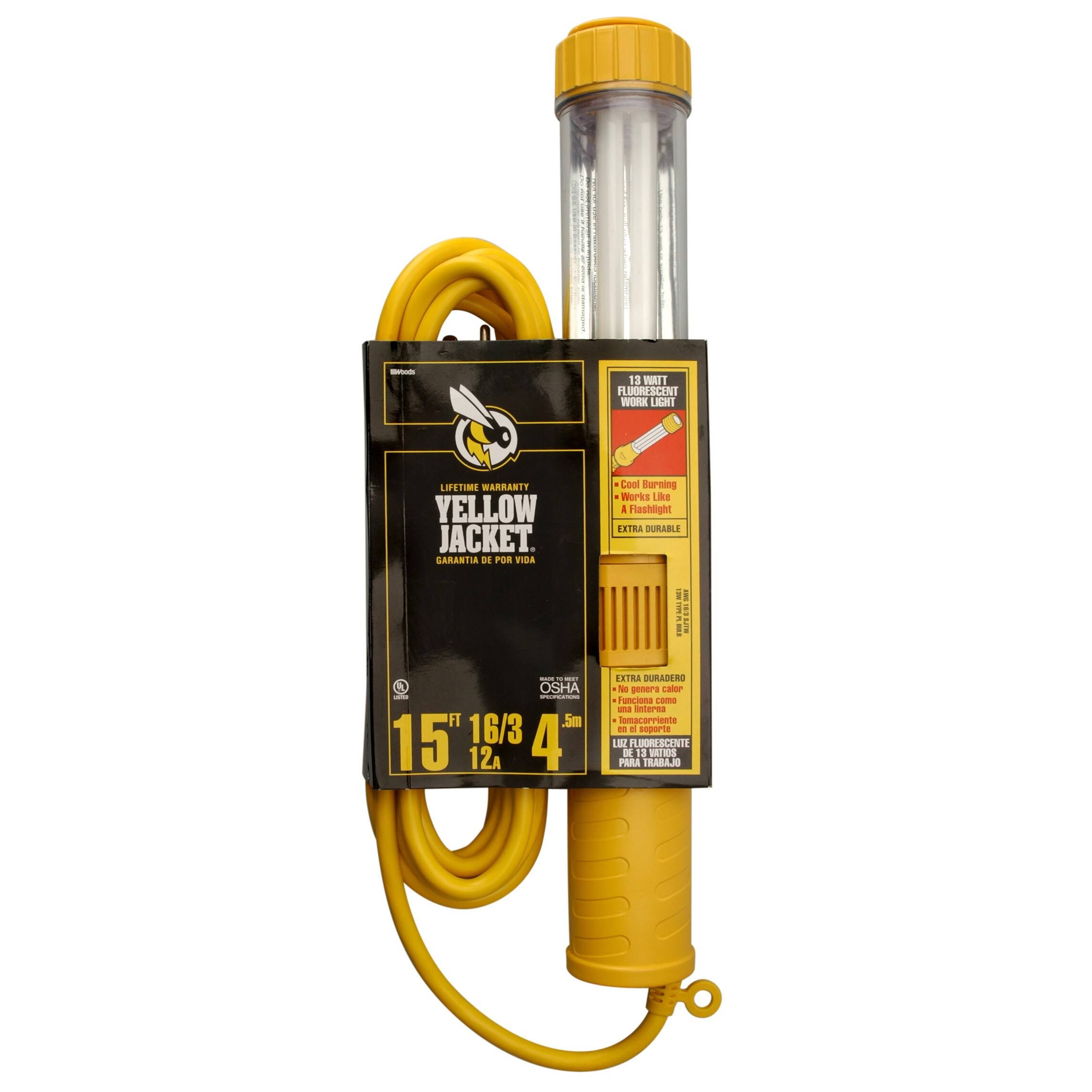 Coleman Cable 38067 15' 16/3 Yellow Jacket Work Light