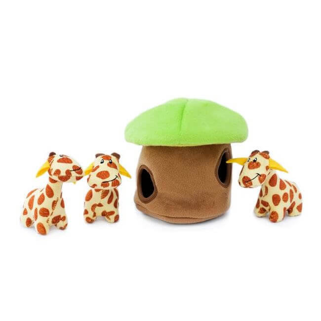 Zippypaws Zippy Burrow Interactive Hide and Seek Dog Toy - 4pcs, Giraffe Lodge