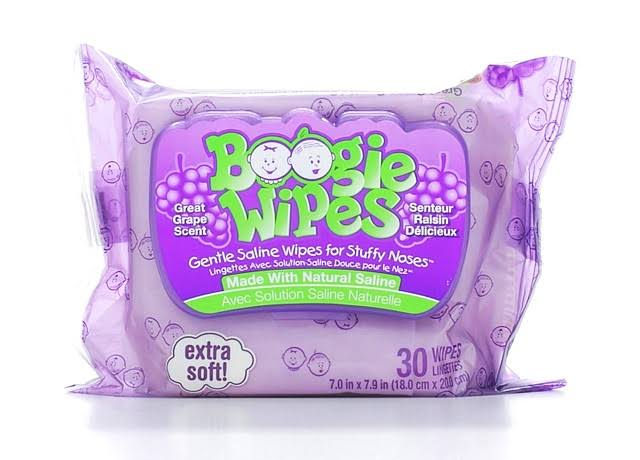 Boogie Wipes Gentle Natural Saline Wipes - Grape Scent, 30ct