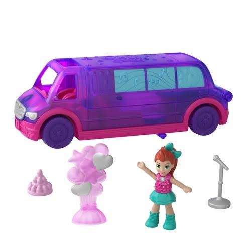 Mattel Polly Pocket Pollyville Party Limo Playset - Purple, 5pcs