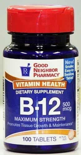 GNP Vitamin Health B-12 Dietary Supplement (100 Tablets, 500 mcg)