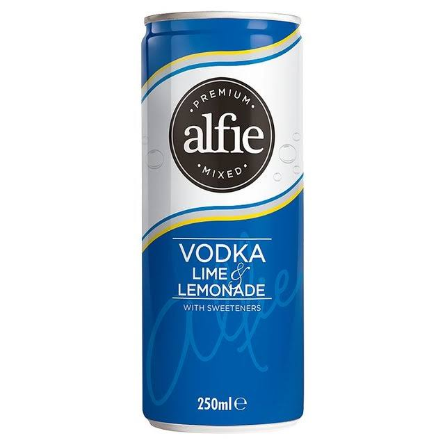 Alfie Premium Mixed Vodka Lime and Lemonade with Sweeteners Drink - 250ml