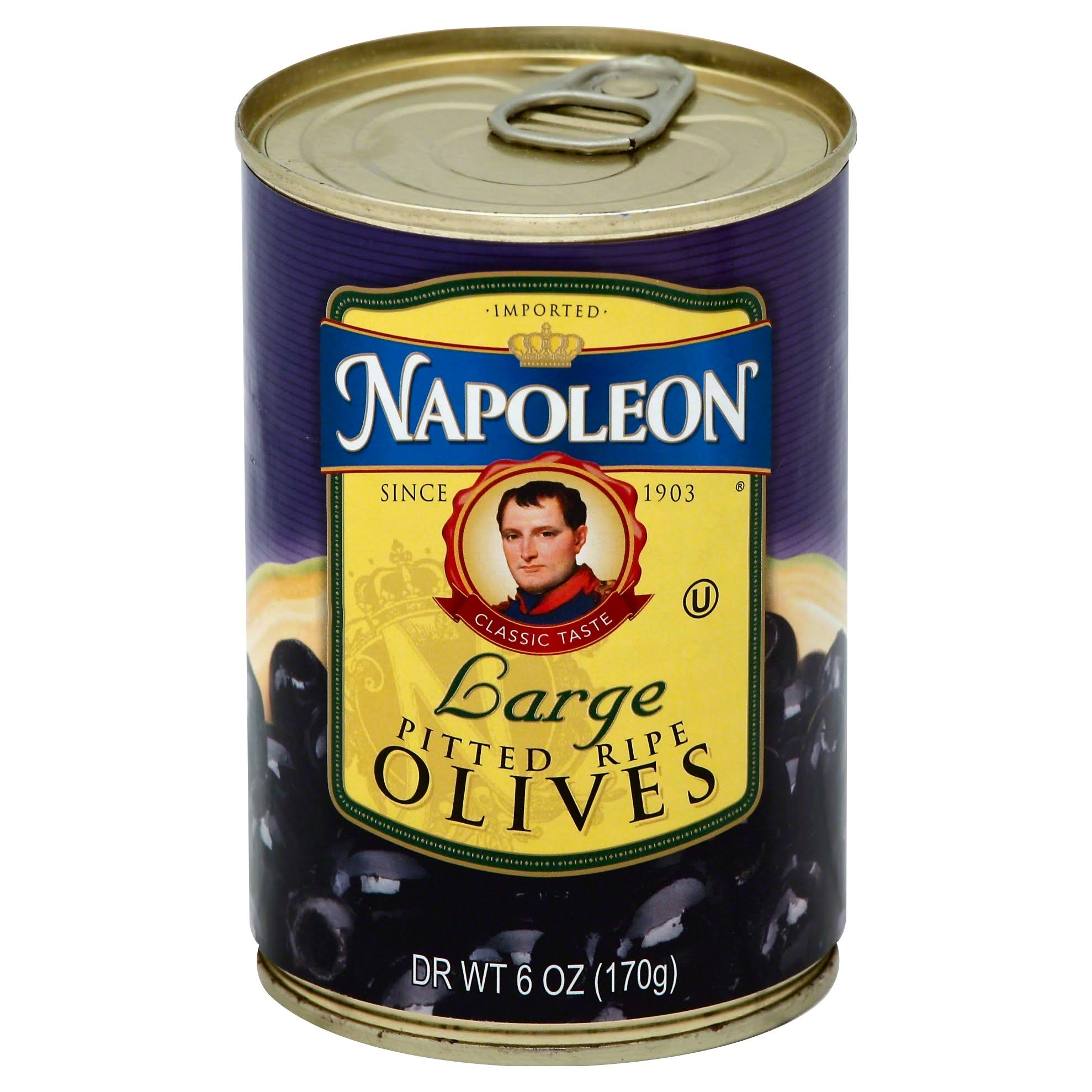 Napoleon Large Black Pitted Olives - 6oz
