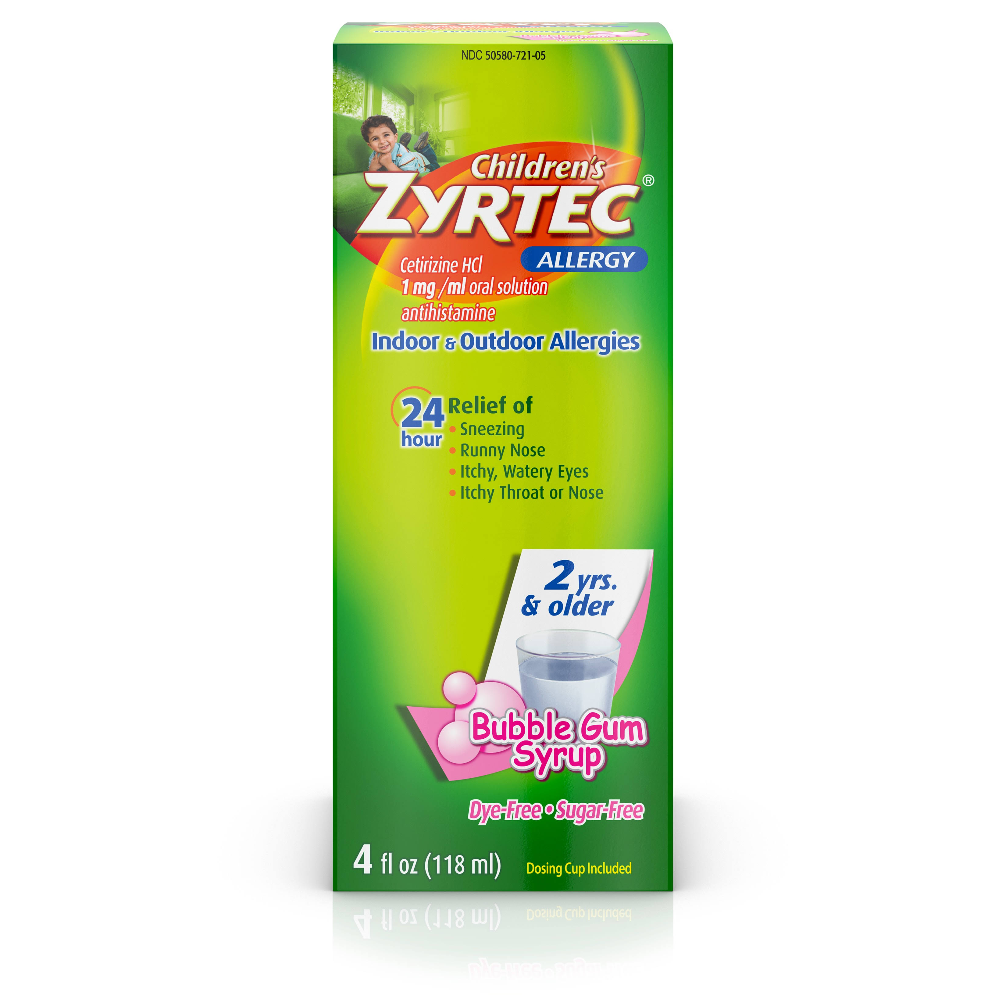 Mortin Children's Zyrtec Allergy Syrup - Bubble Gum