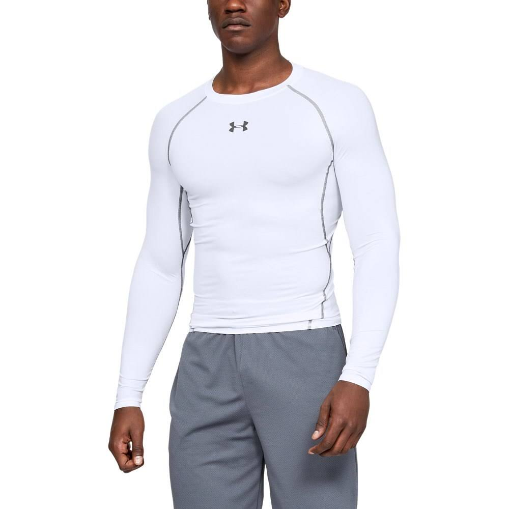 Under Armour Men's HeatGear Armour Long Sleeve Compression Shirt - White/Graphite, Large