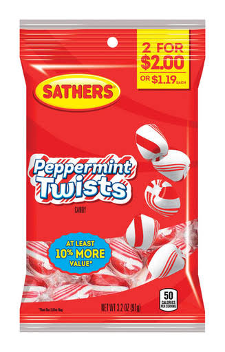 Sathers Candy, Peppermint Twists - 3.2 oz