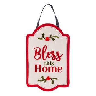 Holly & Berry Bless This Home Burlap Door Decor - 17""