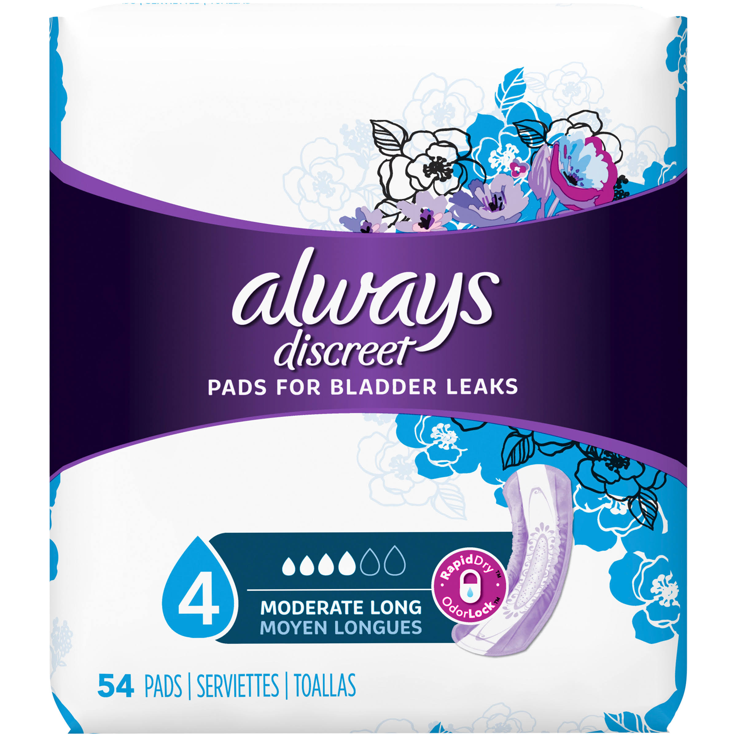 Always Discreet Long Length Pads - Moderate, 54pk