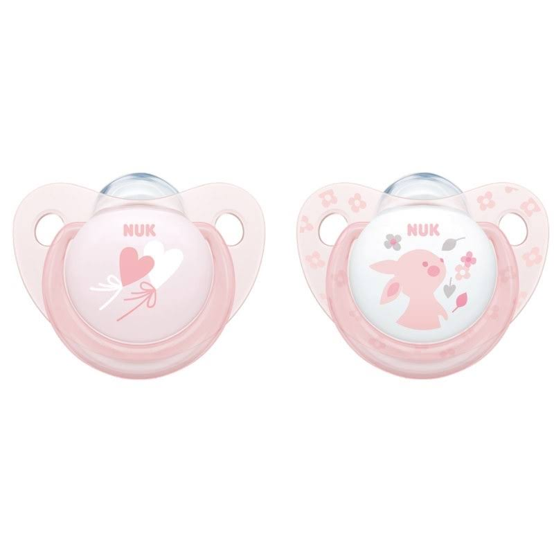 NUK Baby Rose Silicone Soother Size 1 - 2pk