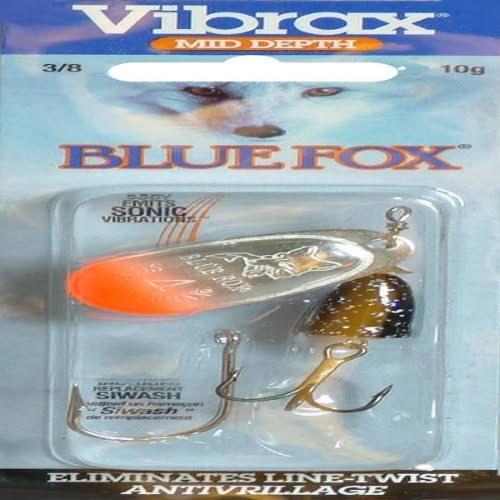 Blue Fox Classic Vibrax Spinner, 3/8-Ounce, Red Tipped/Silver Flake