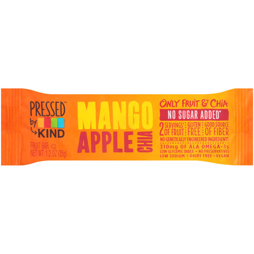 Pressed By Kind Mango Apple Chia Fruit Bar - 1.2oz