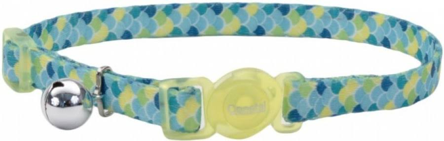 Safe Cat Fashion Adjustable Breakaway Cat Collar, Lime Teal Scales