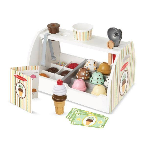 Melissa and Doug Scoop and Serve Ice Cream Counter Wooden Toy Play Set
