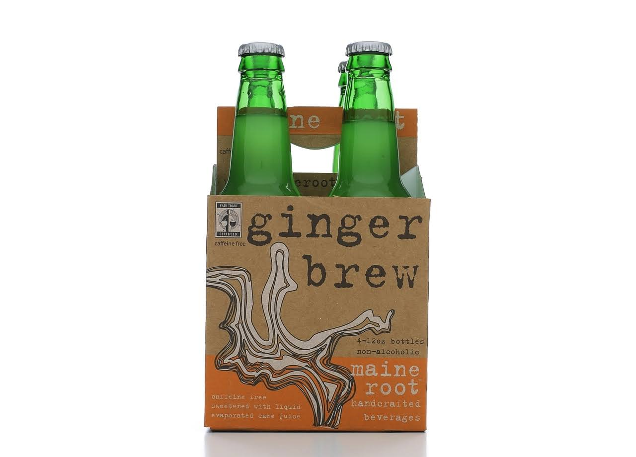 Maine Root Ginger Brew Soda - 4 pack, 12 fl oz bottles