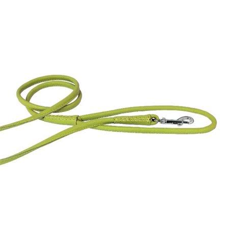 Dogline Soft and Padded Rolled Round Leather Dog Leash - Green