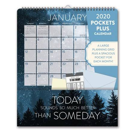 Orange Circle Studio Words to Live Pockets Plus 2020 Wall Calendar