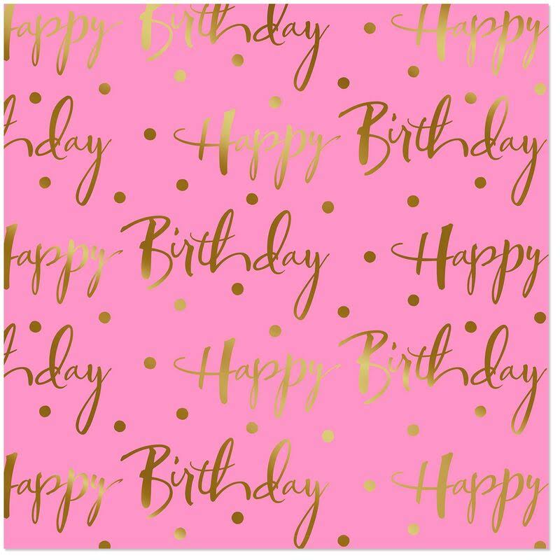 Hallmark Pink Foil Happy Birthday Wrapping Paper Roll