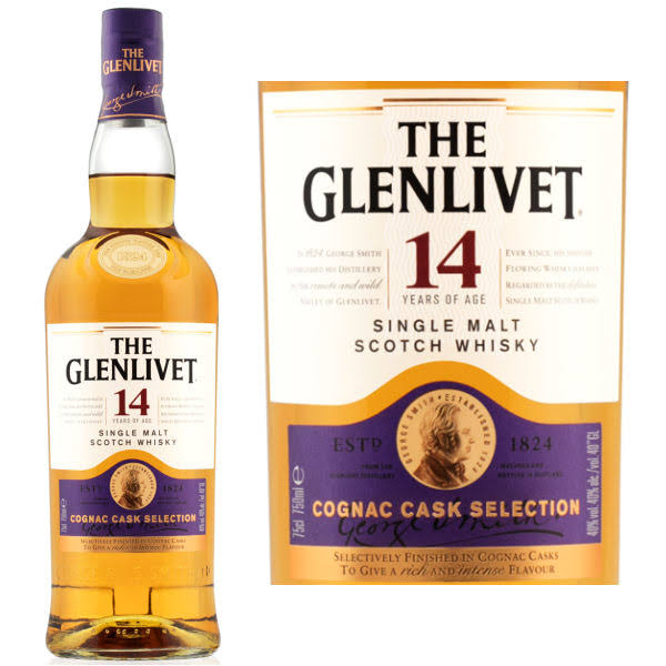 Glenlivet Scotch Whisky, Single Malt, Cognac Cask Selection - 750 ml