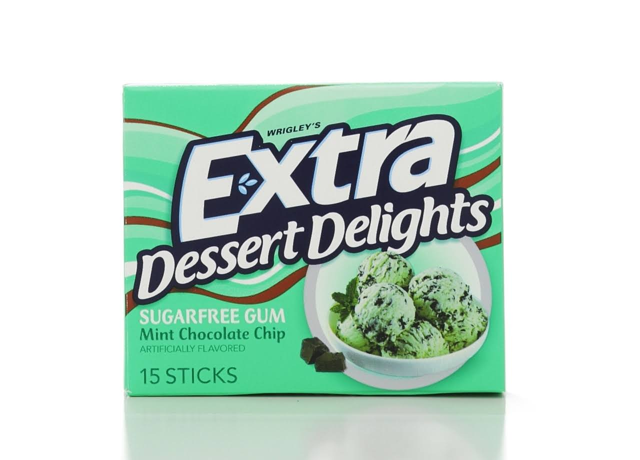 Extra Dessert Delights Gum, Sugarfree, Mint Chocolate Chip - 15 sticks