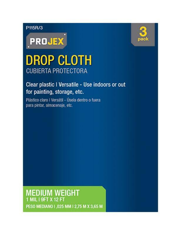 Projex 1560291 Clear Poly Roll Drop Cloth - 9'x12'
