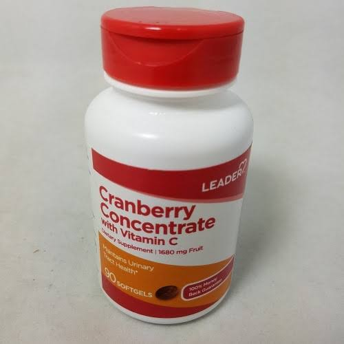 Leader Cranberry Concentrate with Vitamin C Softgels 90 Count per Bottle