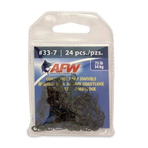 American Fishing Wire Brass Coastlock Snap Swivels (Black/150 Pound Test, 10-Pieces)