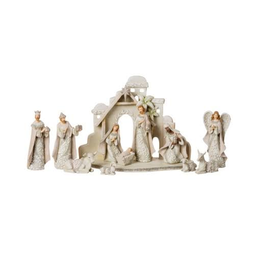 "Nativity Set - with Stable, Ivory Lace, 5"", 12pcs"