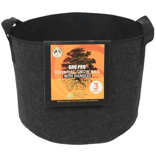 Gro Pro Essential Fabric Pot - Round, with Handles, 3gal