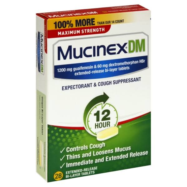 Mucinex Dm Max Strength Expectorant & Cough Suppressant - 28 Extended-Release Bi-Layer Tablets, 1200mg