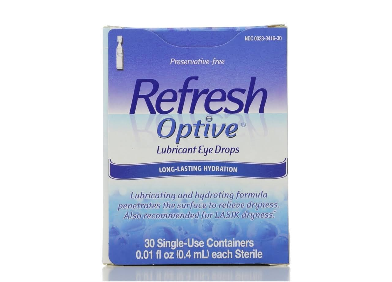 Refresh Optive Long-Lasting Hydration Lubricant Eye Drops - 0.01 fl oz, x30