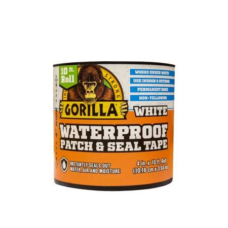 Gorilla 4 in. x 10 ft. White Waterproof Patch and Seal Tape 101895