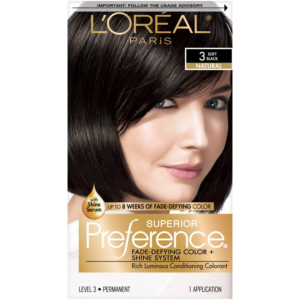 L'Oréal Paris Superior Preference Natural Permanent Haircolor - 3 Soft Black