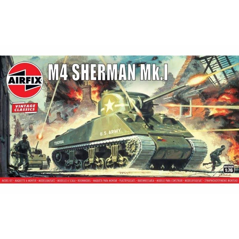 Airfix A01303V Sherman M4 Mk1 Tank Model Kit - 1/76 Scale