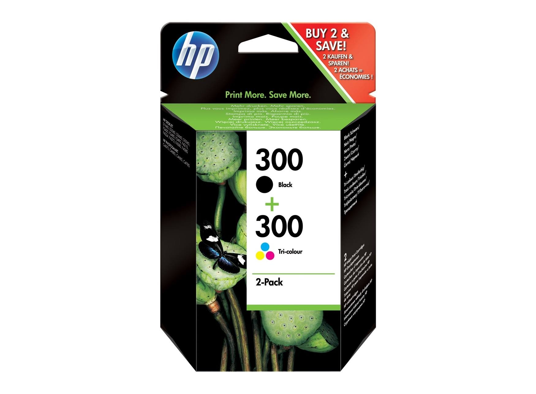 HP 300 Combo Pack Ink Cartridges - 2 Pack