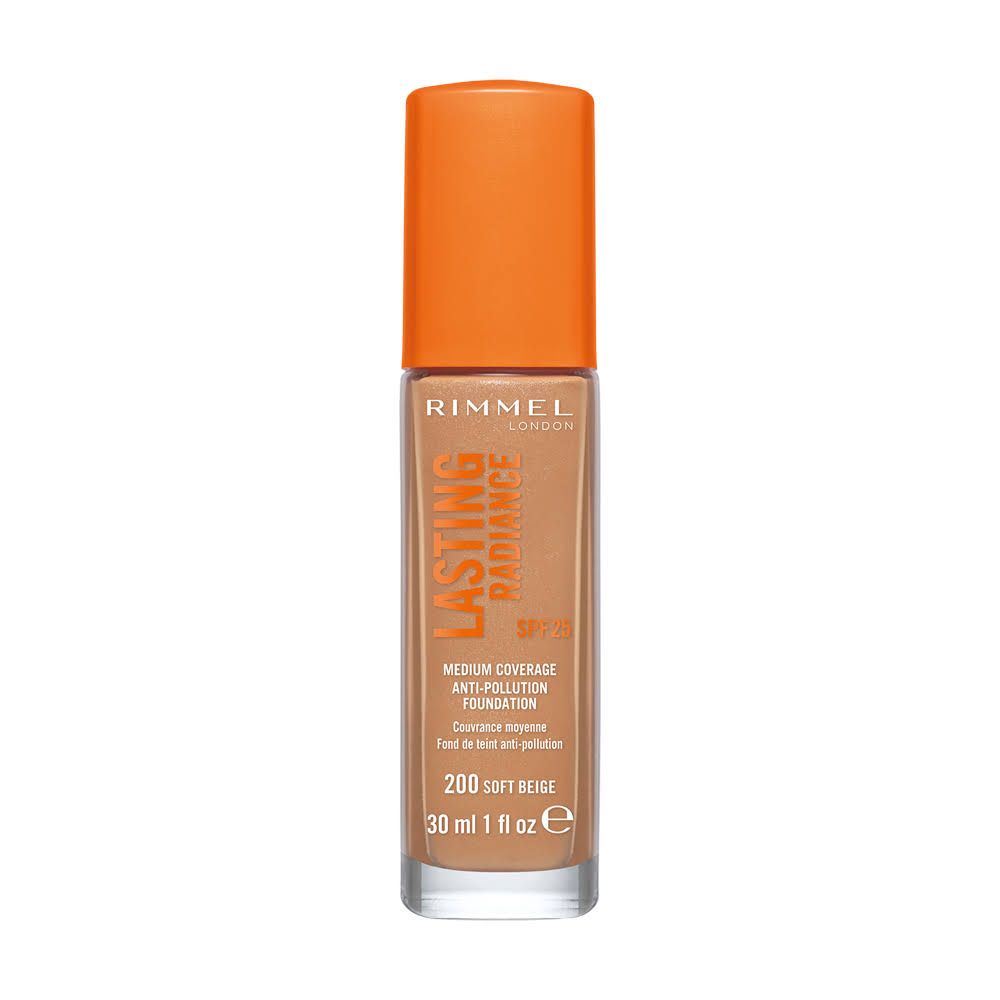 Rimmel London Lasting Radiance Foundation - 200 Soft Beige, 30ml