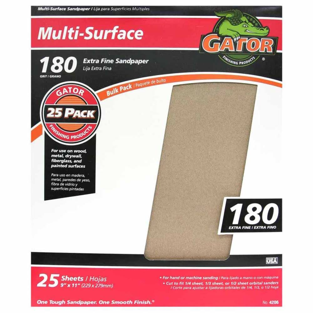 "GatorGrit Multi-Surface Sandpaper - 9"" x 11"", 25 Sheets"