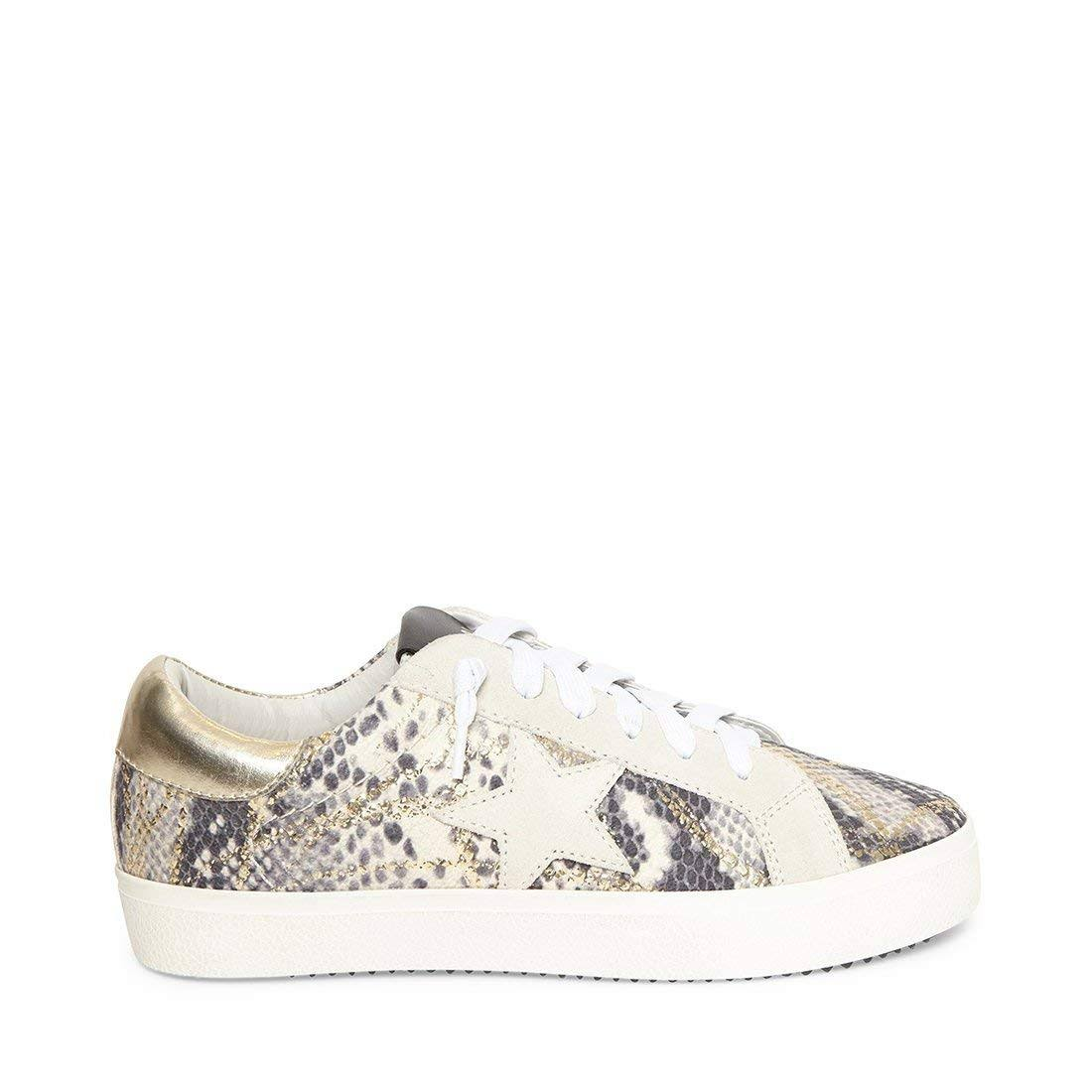 Steve Madden Philosophy Multi Star Print Sneakers - Gold Snake 8.5M