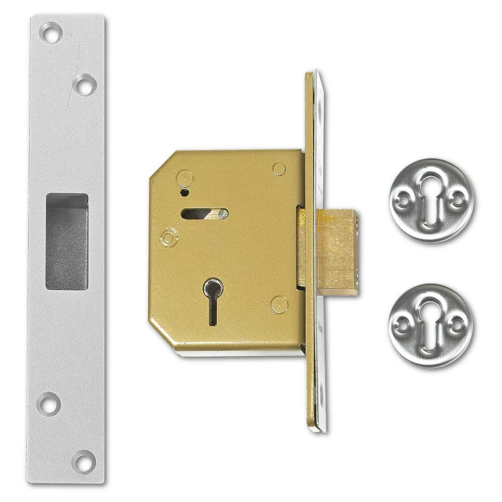Union 3G115 5 Lever Mortice Deadlock 67mm Satin Chrome