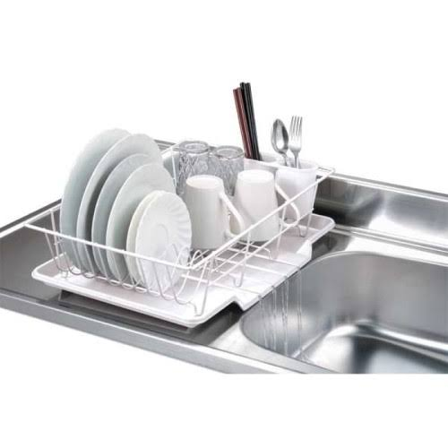 Home Basics 3-Piece Dish Drainer Set - White