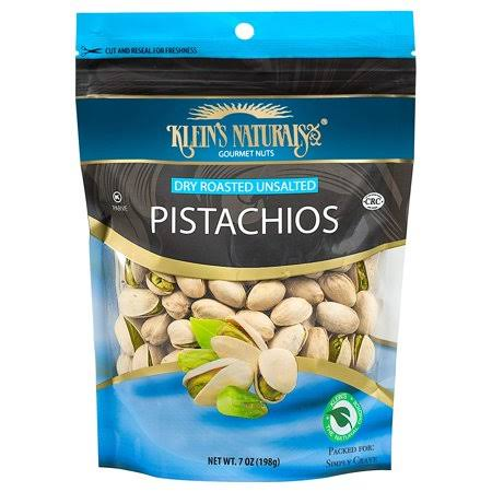 Kleins Naturals Dry Roasted Unsalted Pistachios, 7-Ounce