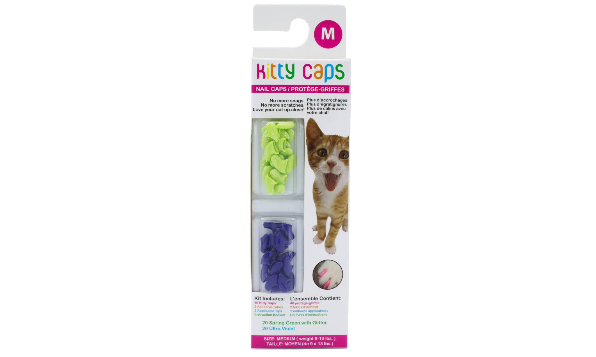 Kitty Caps Cats Nail Caps - Medium, 9 to 13lbs, Green and Purple