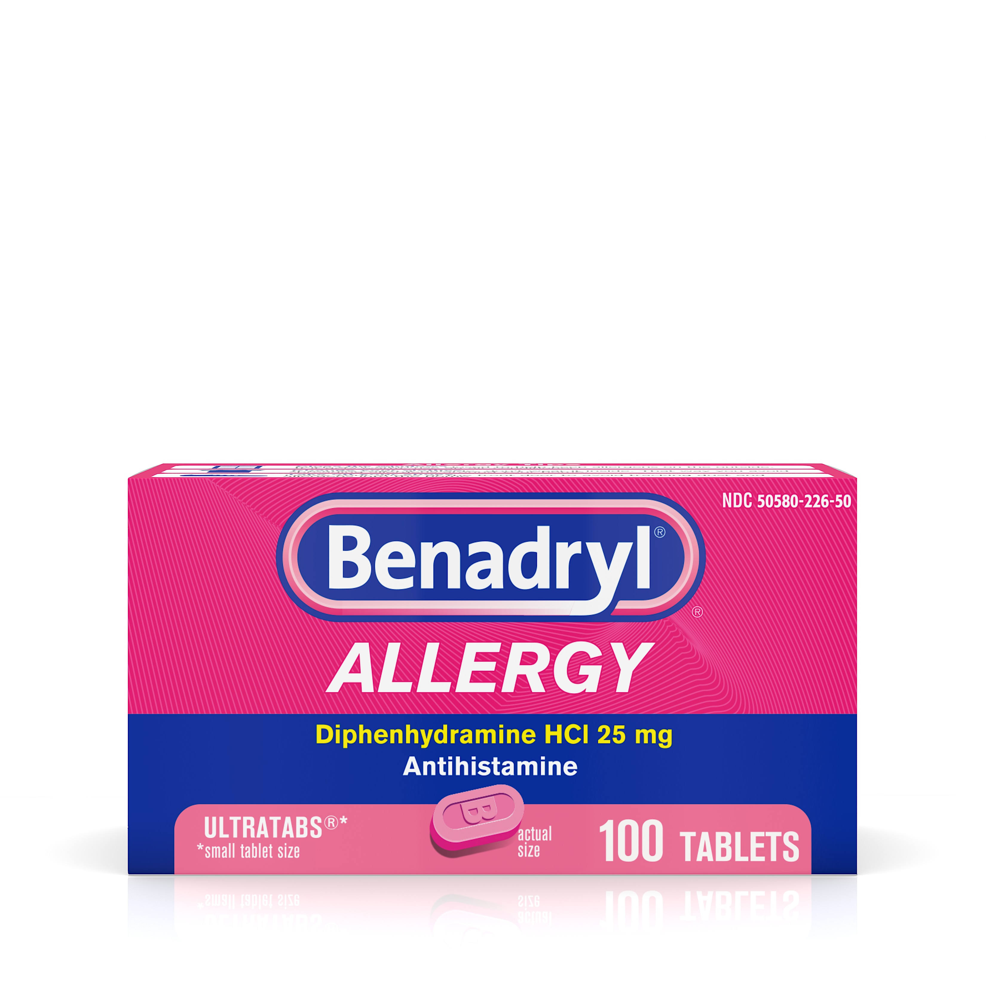 Benadryl Allergy Diphenhydramine HCI Tablets - 100 Pack