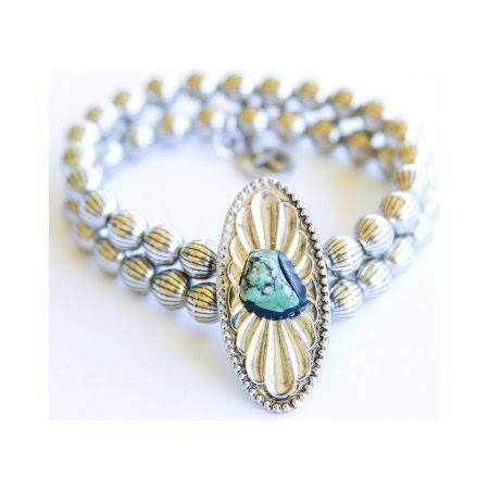 West & Co. Women's Turquoise Blossom Stretch Bracelet