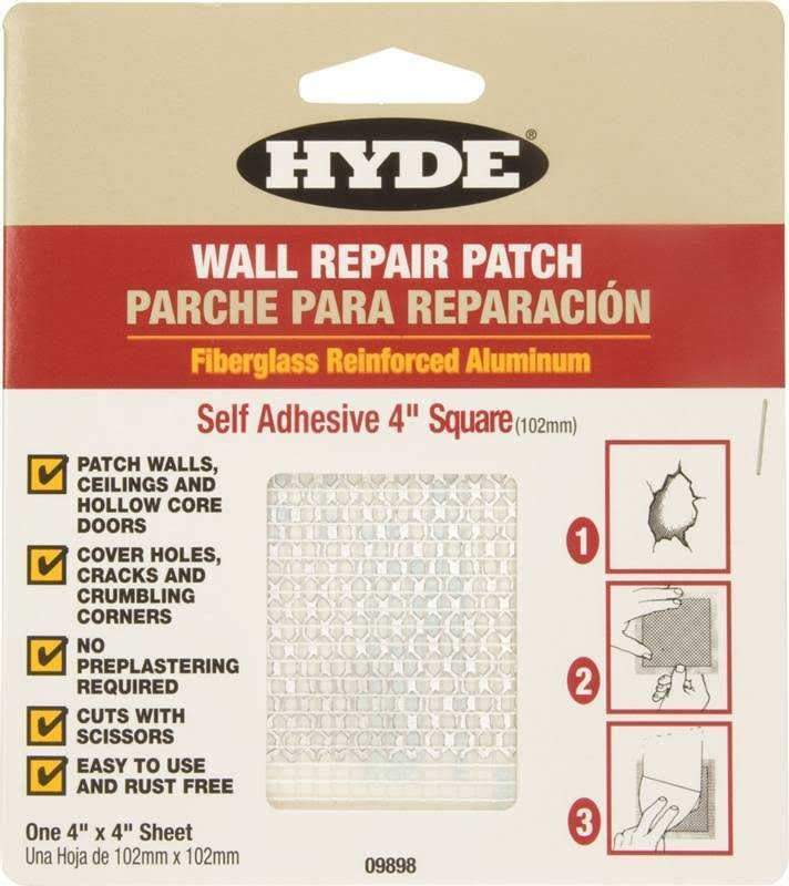 "Hyde Tools 09898 Drywall Patch - 4"" x 4"", Aluminum"