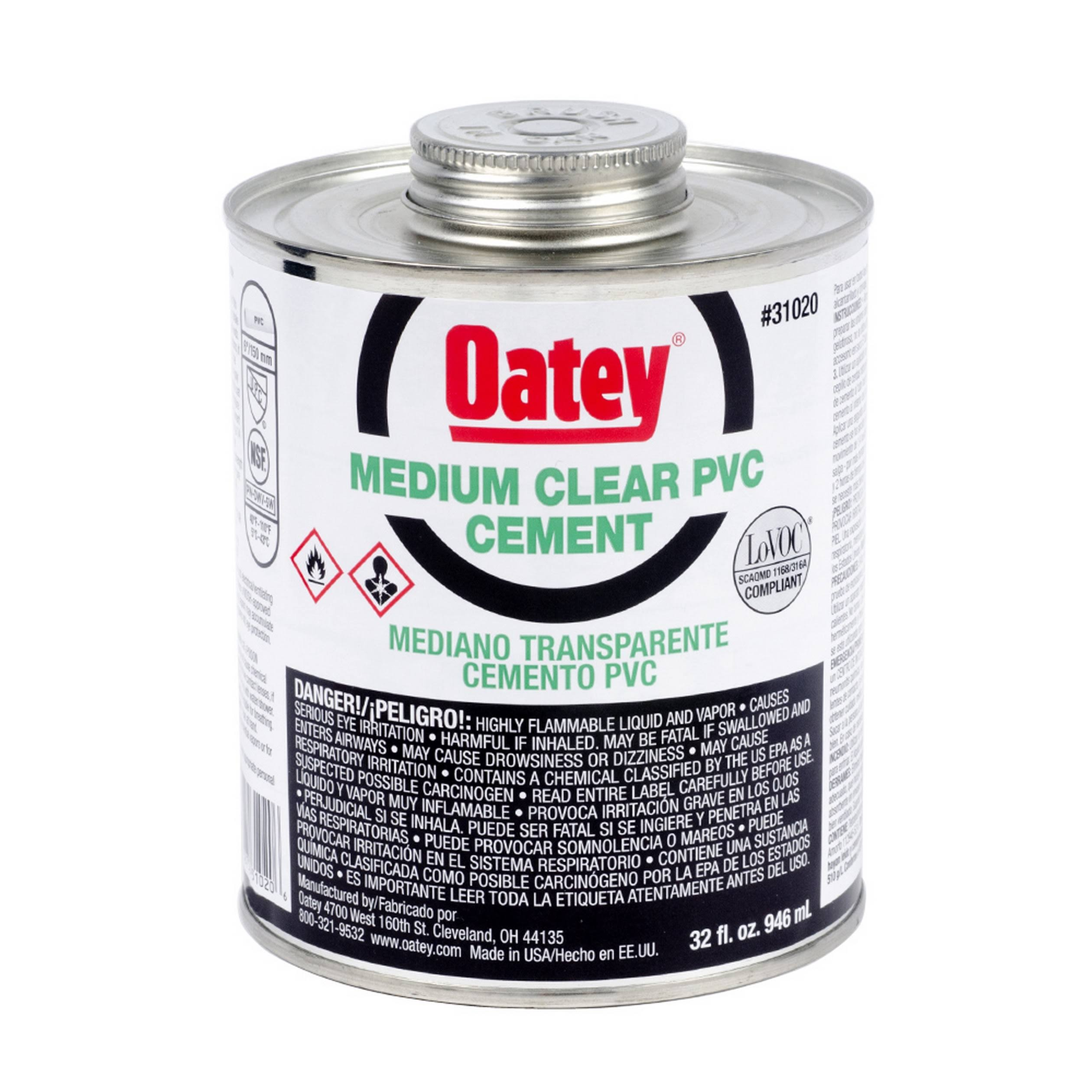 Oatey Heavy Duty PVC Cement - Clear, 473ml