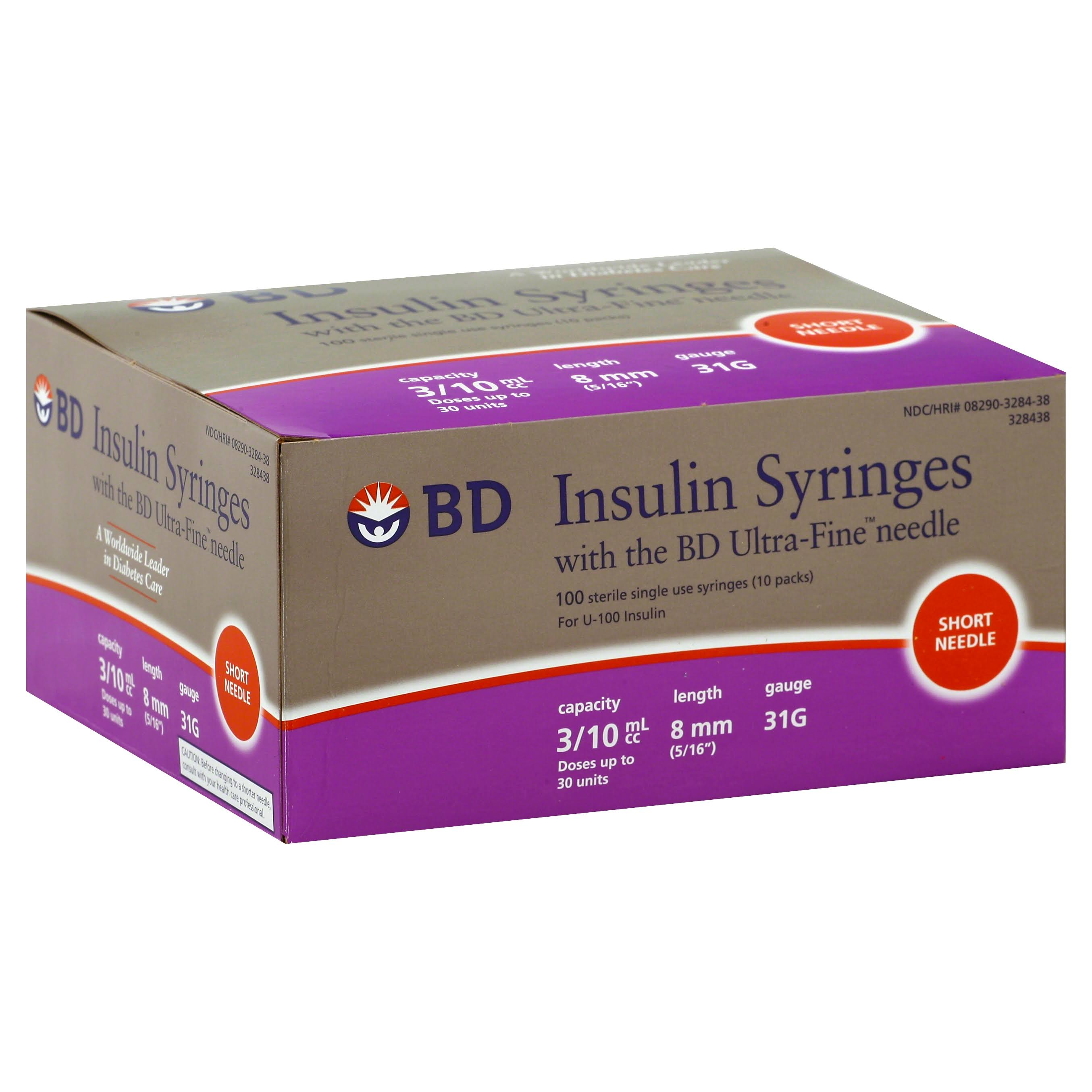"BD Insulin Syringe with Ultra-Fine Needle - 31 Gauge x 5/16"", 3/10ml, 100ct"