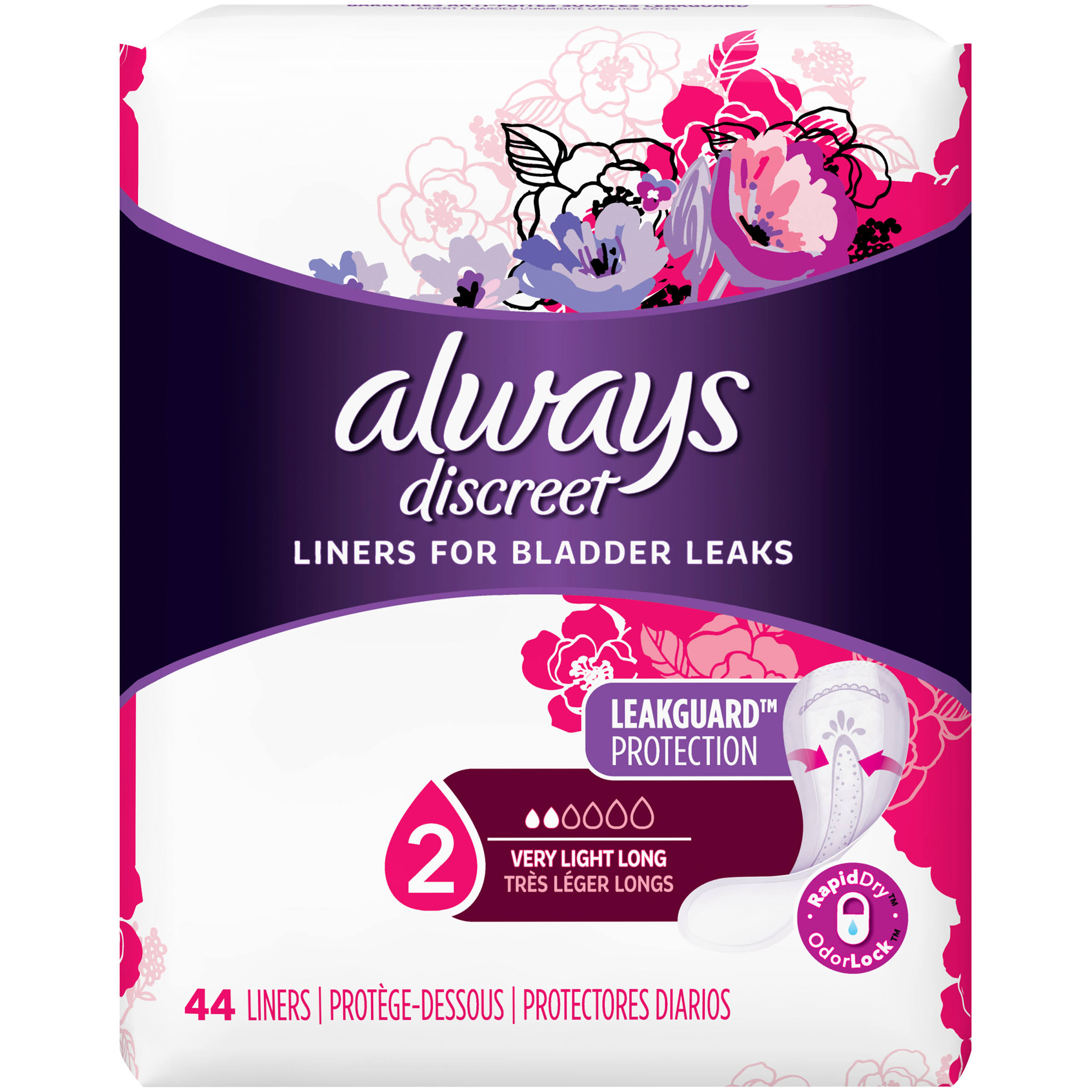 Always Discreet Sensitive Bladder Protection Long Length Liners - Very Light, 44ct